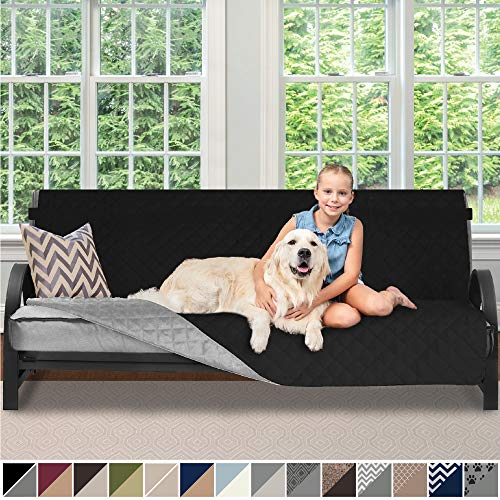 Sofa Shield Original Patent Pending Reversible Futon Protector for Seat Width to 70 Inch, Furniture Slipcover, 2 Inch Strap, Daybed Couch Slip Cover Throw for Pets, Futon, Black Gray