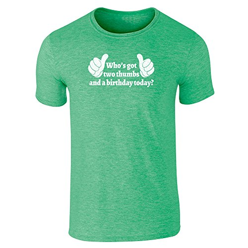 Thumb Pop Green (Pop Threads Who's Got Two Thumbs and A Birthday Today? Heather Irish Green 3XL Short Sleeve T-Shirt)