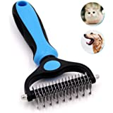 Jaswell Pet Grooming Tool- 2 Sided Undercoat Rake for Dogs &Cats-Safe and Effective Dematting Comb for Mats&Tangles…