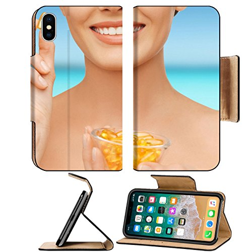 Msd Premium Apple Iphone X Flip Pu Leather Wallet Case Healthcare And Beauty Concept Beautiful Woman With Omega 3 Vitamins Image 25458777