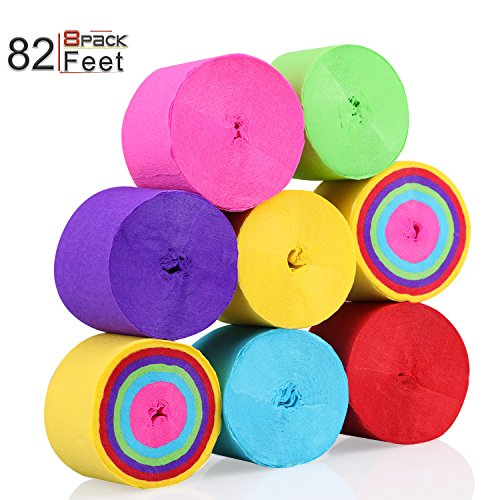 KeNeer 8 Rolls Party Streamers Multi-Color Party Decorations Crepe Paper for Birthday Wedding Concert and Various Festivals