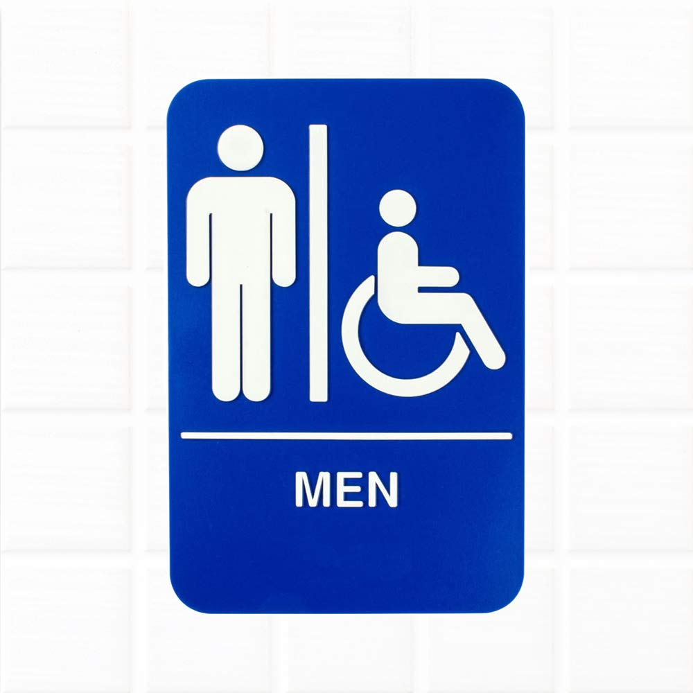 Men Restroom Sign Blue And White 9 X 6 Inches Mens Handicap Accessible Restroom Sign Bathroom Signs For Door Wall By Tezzorio Amazon Com Industrial Scientific