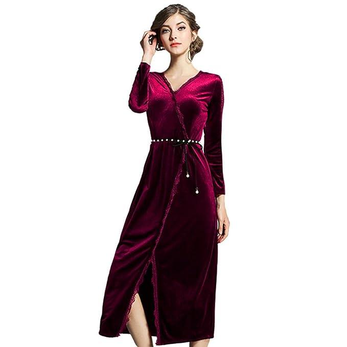 Cinnamou La mujer otoño invierno Elegante terciopelo vestidos vintage de manga larga fiesta una linea de