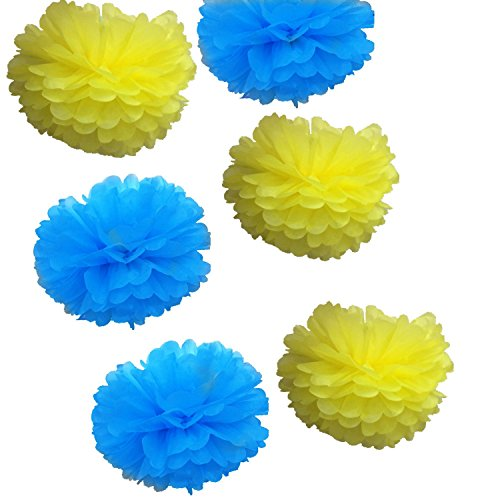 Fonder Mols 14inch Large Blue Yellow Tissue Paper Flowers Pom Poms Craft Kit for Minions Themed Birthday Party Baby Shower Decorations (Set of -