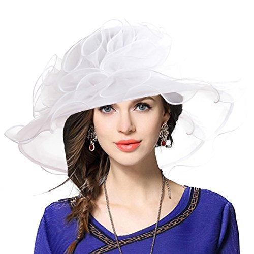 - Women Church Derby Hat Wide Brim Wedding Dress Hat Tea Party Hat S019 (Feather-White)