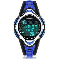 AZLAND Swimming Sports relojes digitales LED resistentes al agua para niño y niña, malla de goma, Azul