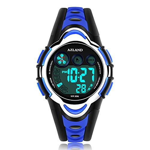 AZLAND Waterproof Swimming Led Digital Sports Watches for Children Kids Girls Boys,Rubber Strap,Blue