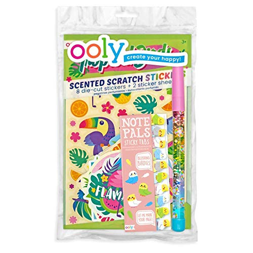 Ooly Happy Pack, Scented Scratch Stickers + Glitter Wand Pen + Sticky Tabs - Toucan You Fly Happy Pack