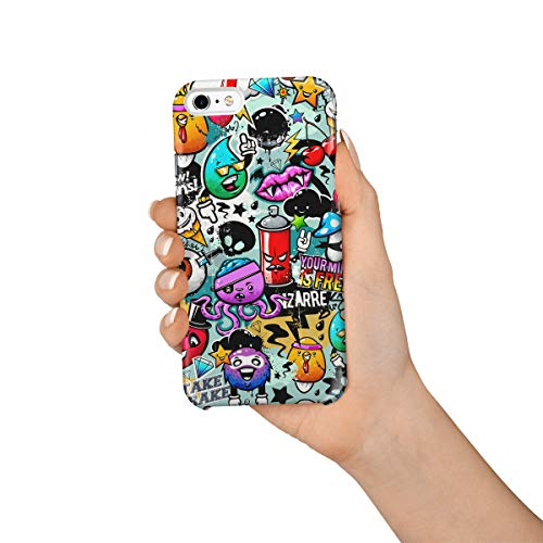Durable Phone Case for iPhone 6/iPhone 6s, Halloween Theme Cartoon Brains Eyeball and Monster Stylish Phone Shell Shockproof Protective Back Cover with Tempered Glass Screen Protector, Anti-Scratch for $<!--$10.14-->
