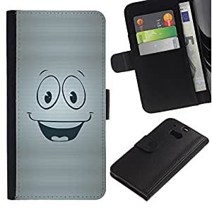 iKiki Tech / Cartera Funda Carcasa - Smiley Happy Face Symbol Cartoon Character - HTC One M8