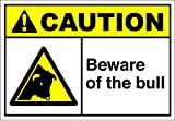 Beware Of The Bull Caution OSHA / ANSI LABEL DECAL STICKER Sticks to Any Surface 10x7