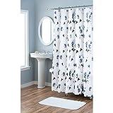 Home Dynamix Nicole MillerLe-Petite-Fleur 100% Cotton Fabric Shower Curtain, Standard 72''X72'', Blue White Floral