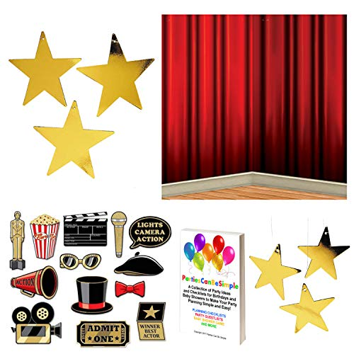Hollywood Red Carpet Awards Ceremony Party Supplies and Decorating Pack - Glitter Photo Props, Red Curtain Backdrop and 24 Gold Metallic Hanging Stars