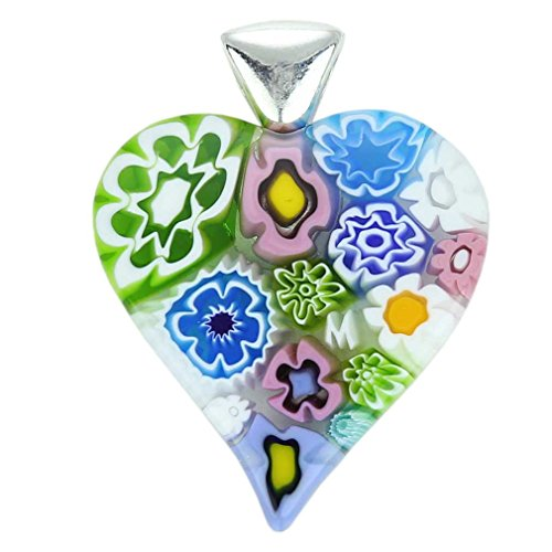 GlassOfVenice Murano Glass Modern Millefiori Heart Pendant - Pastels ()