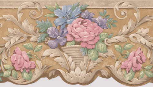 Wallpaper Pink Butterfly Border (Pink Blue Purple Flowers in Pots Victorian Wallpaper Border Traditional Design, Roll 15' x 4.18'')