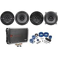 (2) Kicker 44KSC6504 6.5+(2) 44KSC504 5.25 Car Speakers+4-Ch Amplifier+Amp Kit