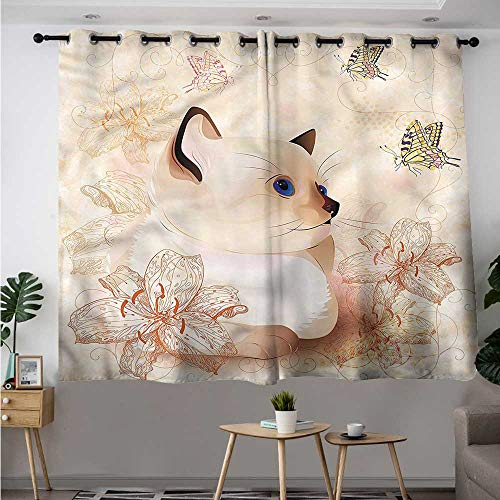 Butterfly Simple Curtain Kittens and Flower Blooms Darkening Thermal Insulated Blackout W 72