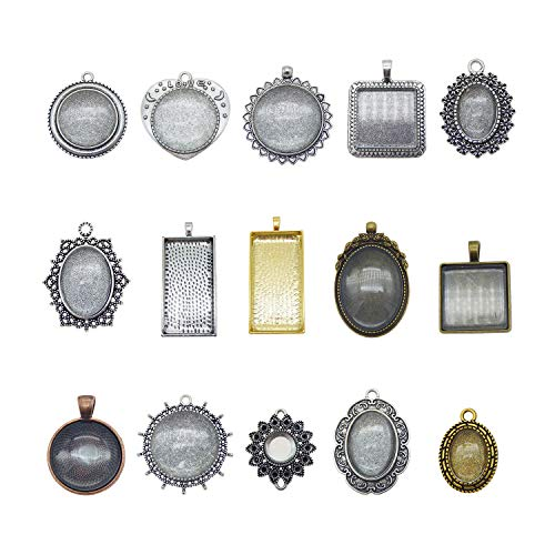 (Julie Wang 30 Pieces Mixed Setting Tray Pendant with Glass Cabochons Bronze Silver for Jewelry Making)