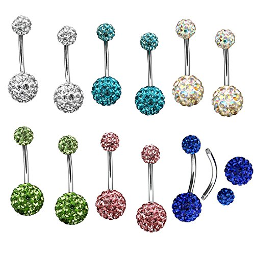 6 Pairs Womens Stainless Steel Belly Bars Crystal Belly Button Jewellery Star Belly Ring with Rhinestone Gift for Women Girls