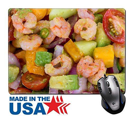 "MSD Natural Rubber Mouse Pad/Mat with Stitched Edges 9.8"" x 7.9"" IMAGE ID: 30744754 Shrimp and avocado summer salad"