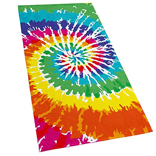 Softerry Tie Dye Beach Towel 30 x 60 inches 100% Cotton Velour Rainbow Hippie Colors Printed ()