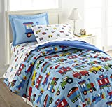 Wildkin 100% Cotton 7 Pc Full Bed-in-A-Bag,Includes Comforter,Flat Sheet,Fitted Sheet,Two Pillowcases and Two Embroidered Shams,Certified Oeko-TEX Standard 100,Olive Kids