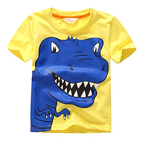 Boys T-Shirt Tops,Sikye Kids Baby Character Print Lovely Dinasour Shorts O-Neck Sunsuit (Size:7T, Yellow)