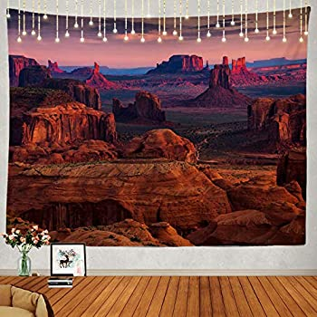 Shrahala Sunrise Tapestry, Sunrise in Grand Canyon National Park Wall Hanging Large Tapestry Psychedelic Tapestry Decorations Bedroom Living Room Dorm(51.2 x 59.1 Inches, Red 1)