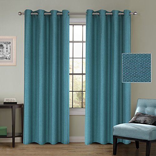 Room Darkening Thermal Insulated Textured Linen Extra Long Curtains Easy Care Window Treatment Drape Traditional Style Antique Metal Grommet, Teal, 52 by 108 inch (Set of 2 Panels) by FlamingoP