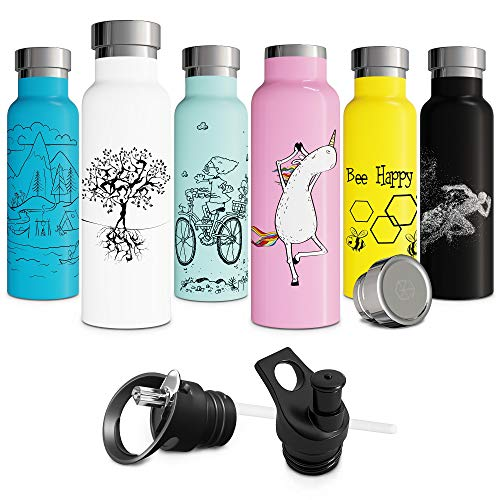 (White Insulated Water Bottle with Straw Push-Pull Sports Cap Double Walled Vacuum Insulated Stainless Steel Eco Friendly Sweat Proof Powder Durable Finish 20 oz Thermos BPA Free Tree of Life)