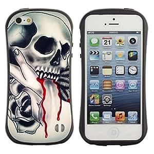 "Pulsar iFace Series Tpu silicona Carcasa Funda Case para Apple iPhone SE / iPhone 5 / iPhone 5S , Vampire tatuaje Colmillo de Sangre de tinta motorista"""
