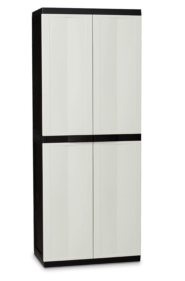 DEA Home ART201 Trend Line S Armoire pour Range Balais Polypropylène Black Edition - Blanc Laiteux 65 x 37 x 165 cm