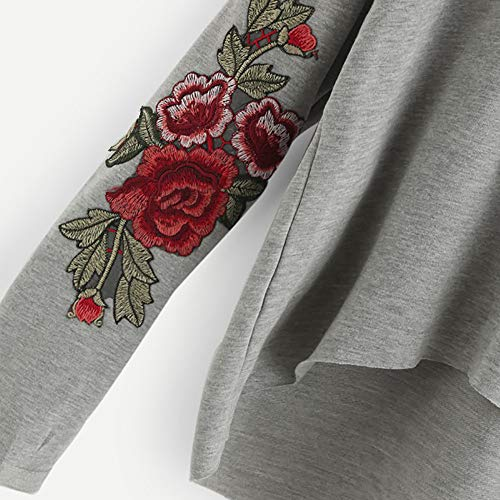 Sudaderas Top manga Camisa larga con para de capucha con Sudadera mujeres casual Aimee7 capucha Gris R4xYxq