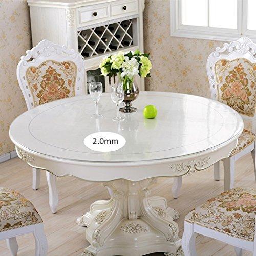 Thick 2.0mm Round 80cm QWM-Grande nappe Nappe ronde transparente, Nappe ronde en PVC doux Matière imperméable à l'eau Plaque en cristal antidérapante QWM-couverture de table ( Couleur   Thick 2.0mm , taille   Round 80cm )