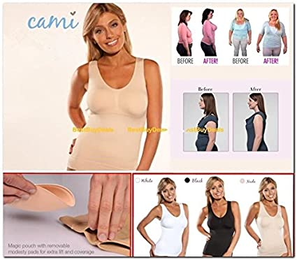 adaeb44d351 Amazon.com  Women s Body Shaper Genie Bra ShapeWear Tank Top Slimming  Camisole Spandex Slim Up Lift Body Shaper Nude (L