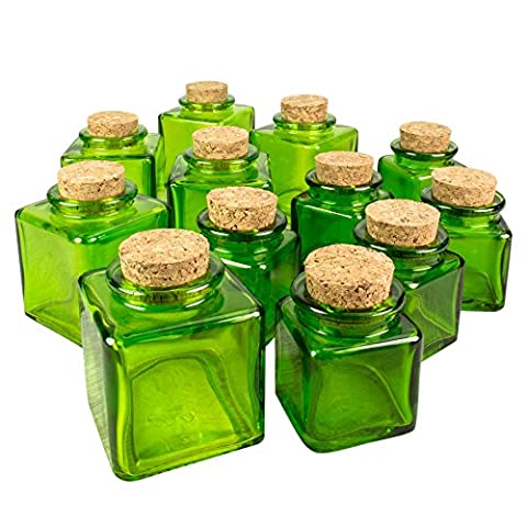 Square Food Safe Glass Bottles with Corks, 2.5 Inch, 1.4 oz and 3 Inch 3.4 oz Containers, Spice Jars, Decorative Jars for DIY Crafts, Party Favors, Candy Dishes, (Lime Green), (2 Sizes, 12 - High Apothecary Jar