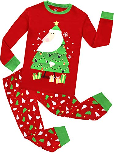 Boys Girls Christmas Pajamas Set Kids Santa Claus PJS 100% Cotton Toddle Sleepwear Size 8 -