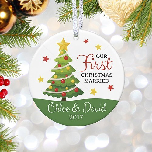 personalized our first christmas married ornament 2017 with names wedding gift 1st married christmas - Our First Married Christmas Ornament