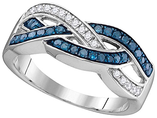 Pave Diamond Crossover (10kt White Gold Womens Round Blue Colored Diamond Crossover Band Ring 1/3 Cttw (I2-I3 clarity; Blue color))