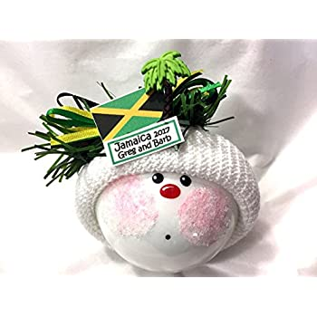 Jamaica Vacation Souvenir Christmas Ornament Flag Palm Tree Hand Painted Handmade Personalized And Themed By Townsend
