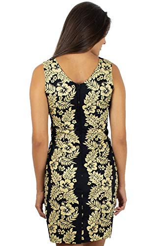 Damen Schwarz Tank Blätter Hawaii Print Schwarz Girlande XXL Original KY's Hawaiikleid Gold Kleid S Blüten qECfqwXB