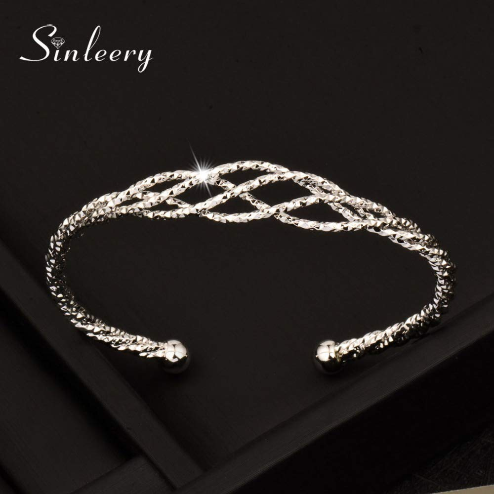 New Trendy No Stone Wrap Hollow Bangle Cuff For Women Rose//White Gold Color Sl310 Kar-Acces