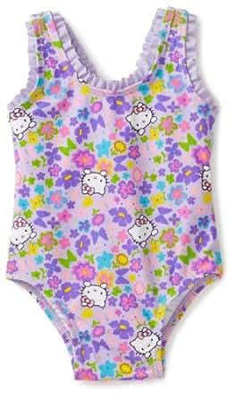 Hello Kitty Baby Girls' Garden Party One Piece Swimsuit, Purple, 24 Months