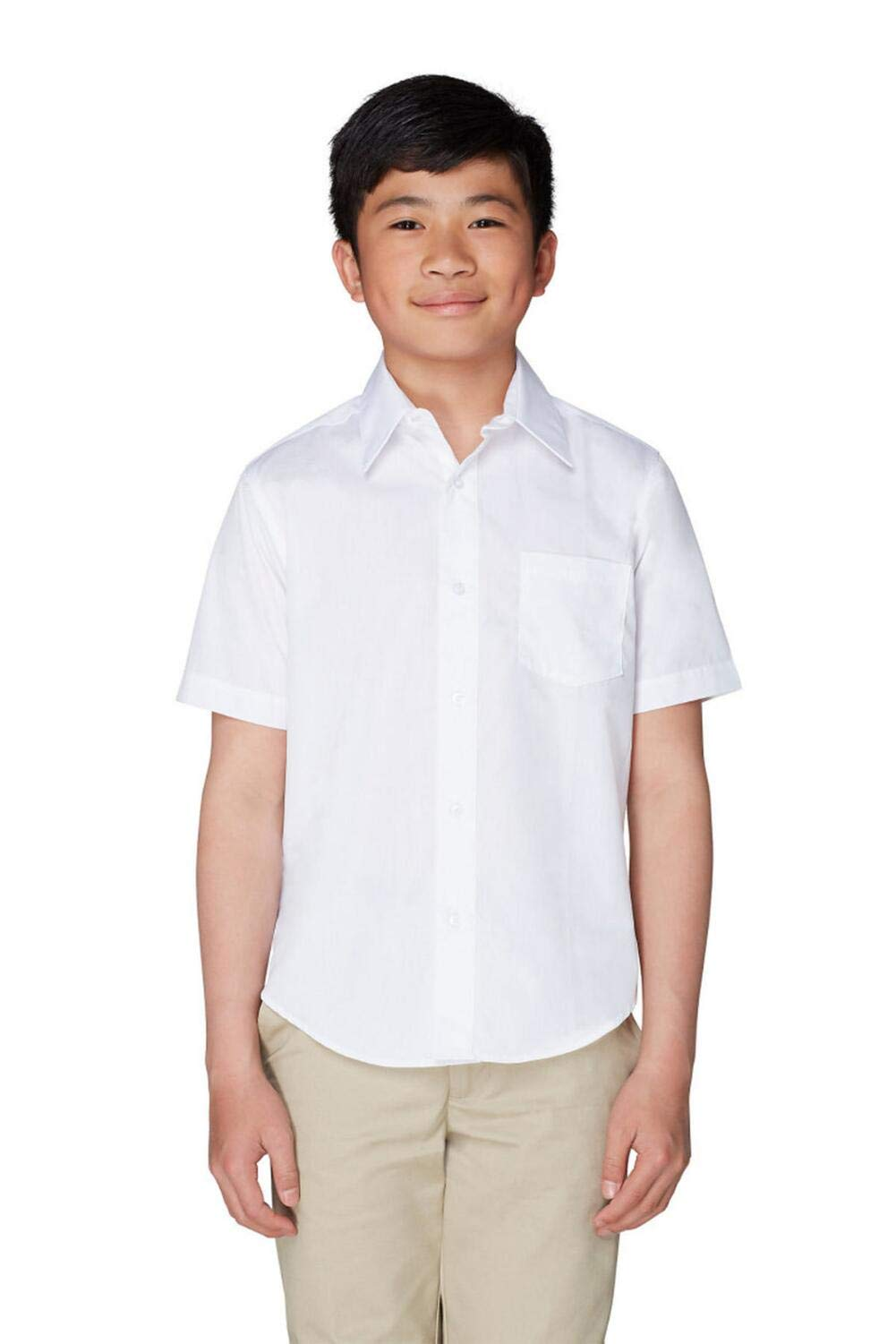 French Toast Short Sleeve Dress Shirt with Expandable Collar White XL