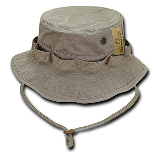 - Washed Cotton Military Boonie Hat with Drawstring - KHAKI - L
