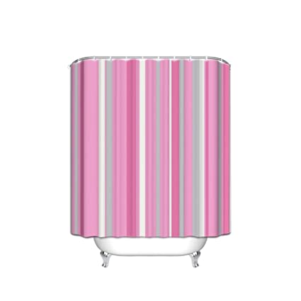 Image Unavailable Not Available For Color JANNINSE Pink Stripe Shower Curtains