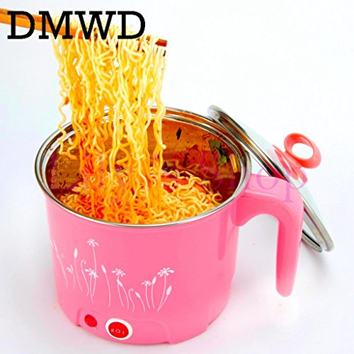 (Multifunction electric Skillet Stainless Steel Hot pot noodles rice Cooker Steamed egg Soup pot MINI heating pan 1.5L (pink 220V))