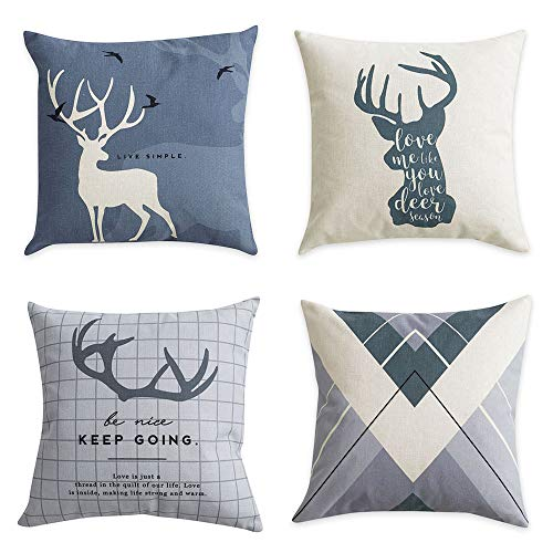 GADEWAKE Deer Scandinavian Decorative Throw Pillow Covers Cotton Linen Couch Sofa Cushion Covers for Sofa Couch Dcor Set of 4,18 x 18 inches