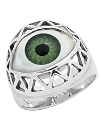 Unisex Solid 925 Sterling Silver Green Evil Eye 13mm Wide Lucky Ring