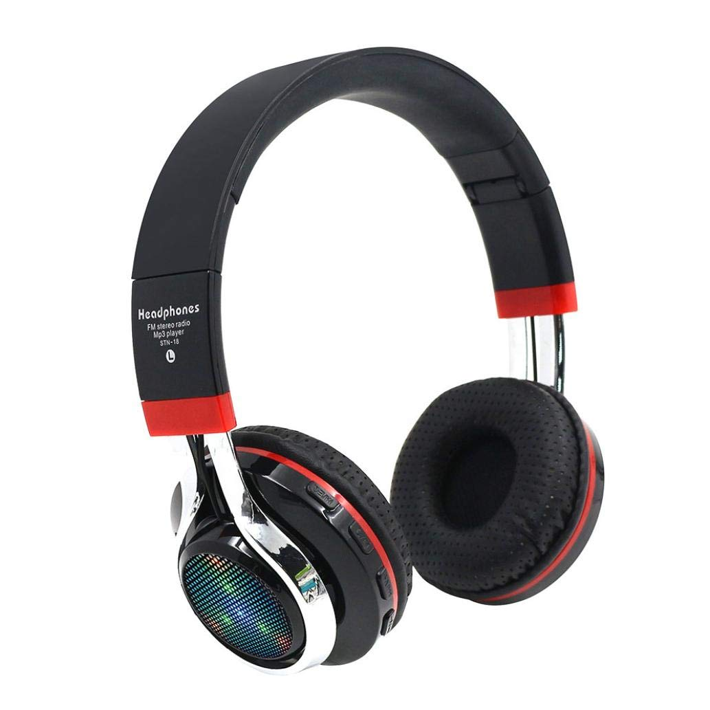 Sonmer STN-18 Wireless Bluetooth 4.1 Noise Cancelling Stereo Foldable Over Ear Headphone,for Iphone Android Smartphone Tablet PC,With Microphone FM Function (Black)